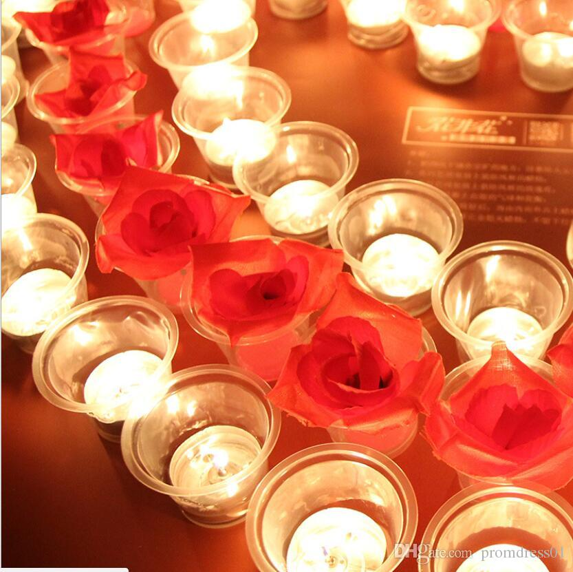 Hot Sell the Rose Flower Cloth Simulation Candles Rose Map for Wedding Party