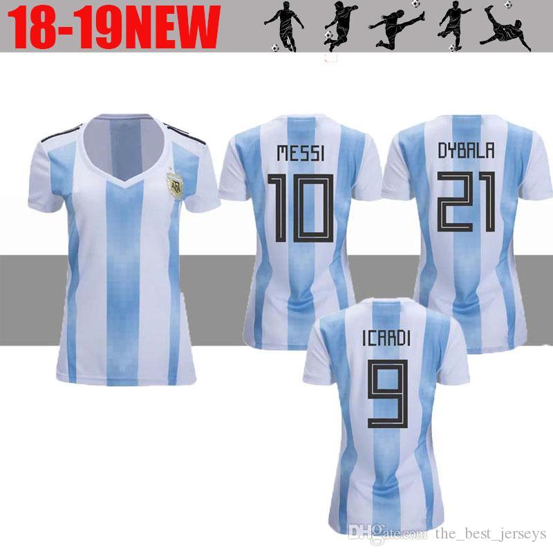 8710dc630 2019 2018 Argentina Home Soccer Jerseys Women S World Cup 18 19 Football Jersey  MESSI DYBALA Ladys Shirts Female Top Thai Quality Sports Uni From ...