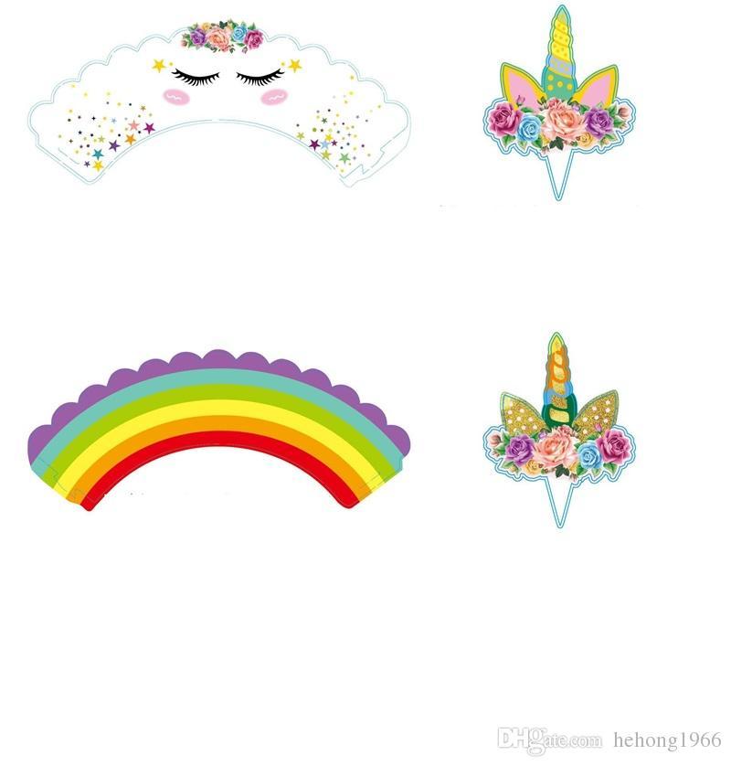 Bonito UnicorncChildren Birthday Party Cake Em Torno de Plugged Flags Decoração Crianças Adorei Suprimentos Decorativos 6 8 rz Y