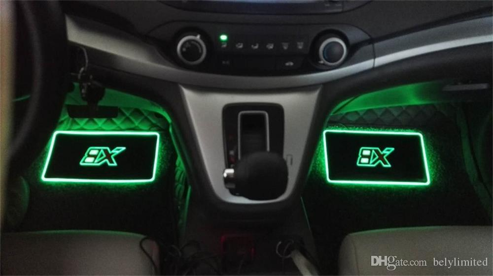 car interior atmosphere lamp floor mats led decorative lamp app control colorful flashing light. Black Bedroom Furniture Sets. Home Design Ideas