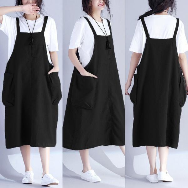 Zanzea L 5xl Women Plus Size Loose Kaftan Vintage Suspender Dress