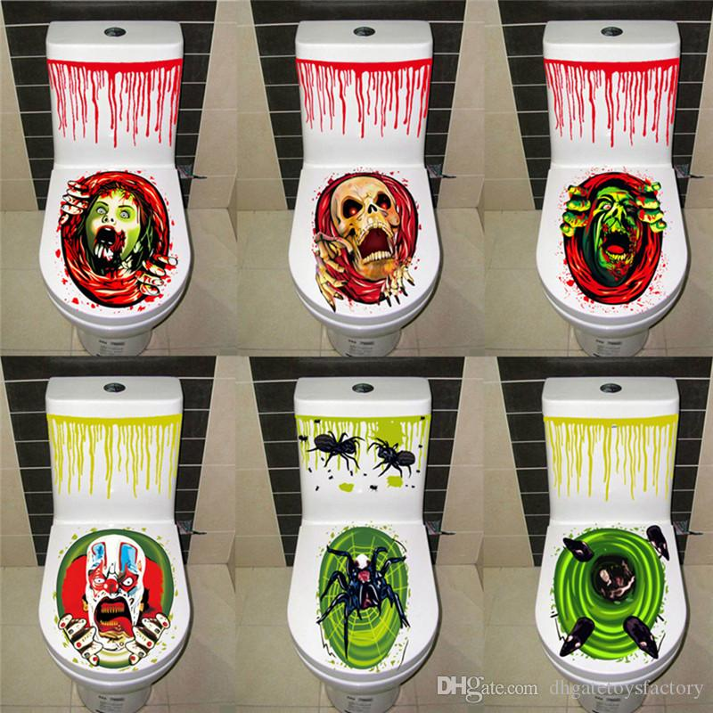 Halloween Gruesome Bathroom Toilet Seat Lid and Cistern Sticker Toilet Seat Grabber Cover Funny Toys for Halloween Halloween Supplies