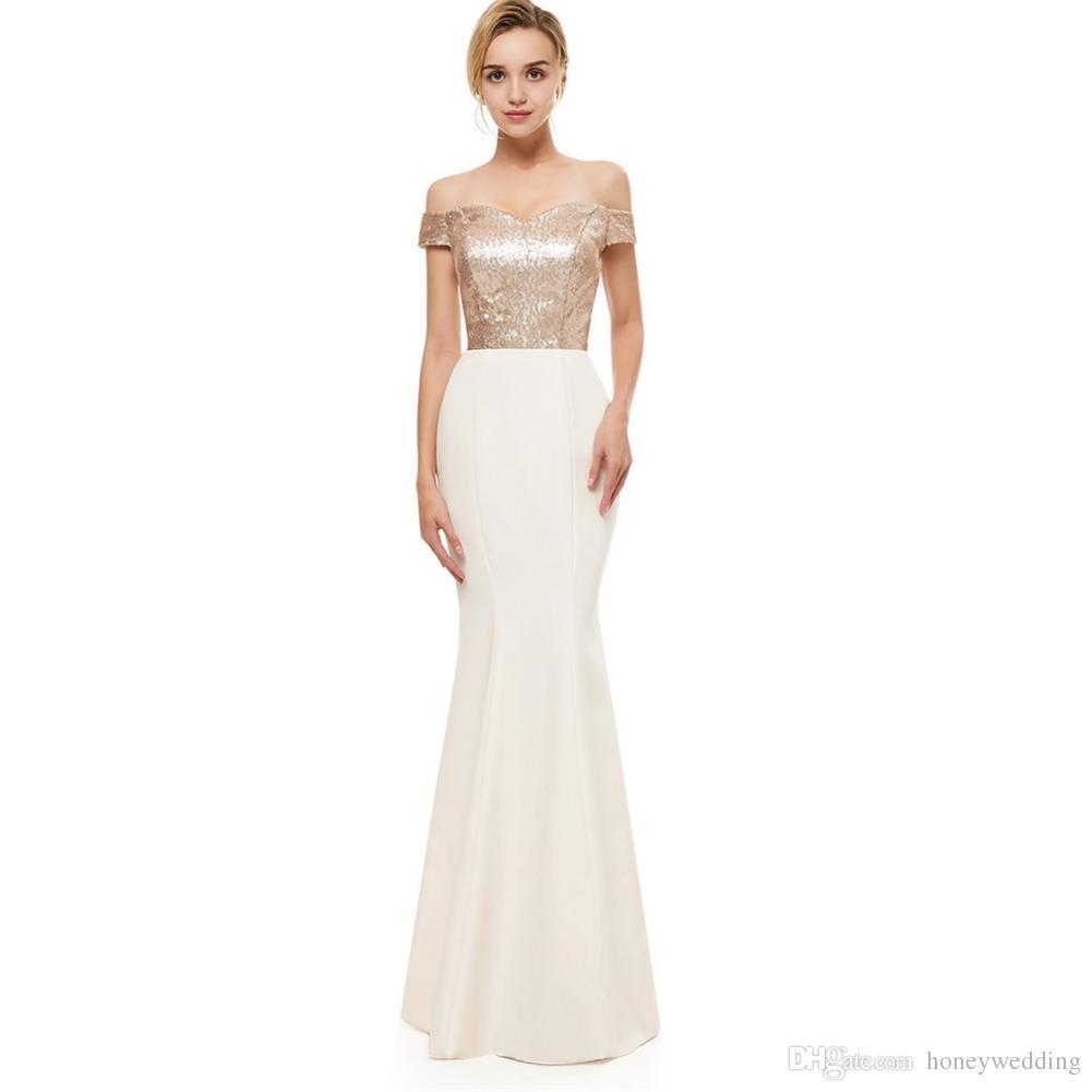 Mermaid Evening Dresses 2018 Off Shoulder Rose Gold Sequined Top Evening  Gowns Simple Formal Dresses Prom Wear 2019 Dress Shop Online Dresses For  Ladies ... 8bb1bddd7cd1