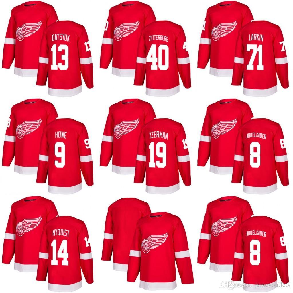 ba3037f6 2019 2019 New 9 Gordie Howe 19 Steve Yzerman 8 Abdelkader 40 Henrik  Zetterberg 13 Datsyuk 14 Nyquisi Detroit Red Wings Hockey Jerseys From  Jerseyoutlets, ...