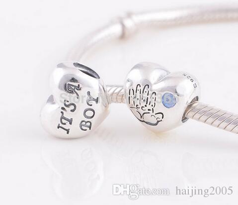761cbeadb ... bracelets 80992 df873; low price 2018 new s925 sterling silver baby boy  heart with blue cz charm beads fits
