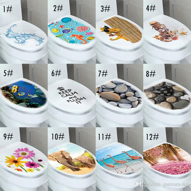 3d Wall Sticker Toilet Stickers Hole View Vivid Animal Bathroom Room