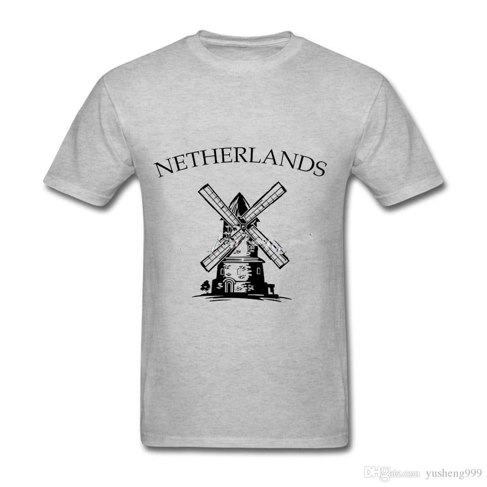 c0ee06609aa1 Cool Slim Fit Letter Printed Men Custom T Shirts Fashion Style Summer  Netherlands Windmill Classic Tee Shirts Cotton T Shirts Fun Tee Shirts  Silly T Shirts ...