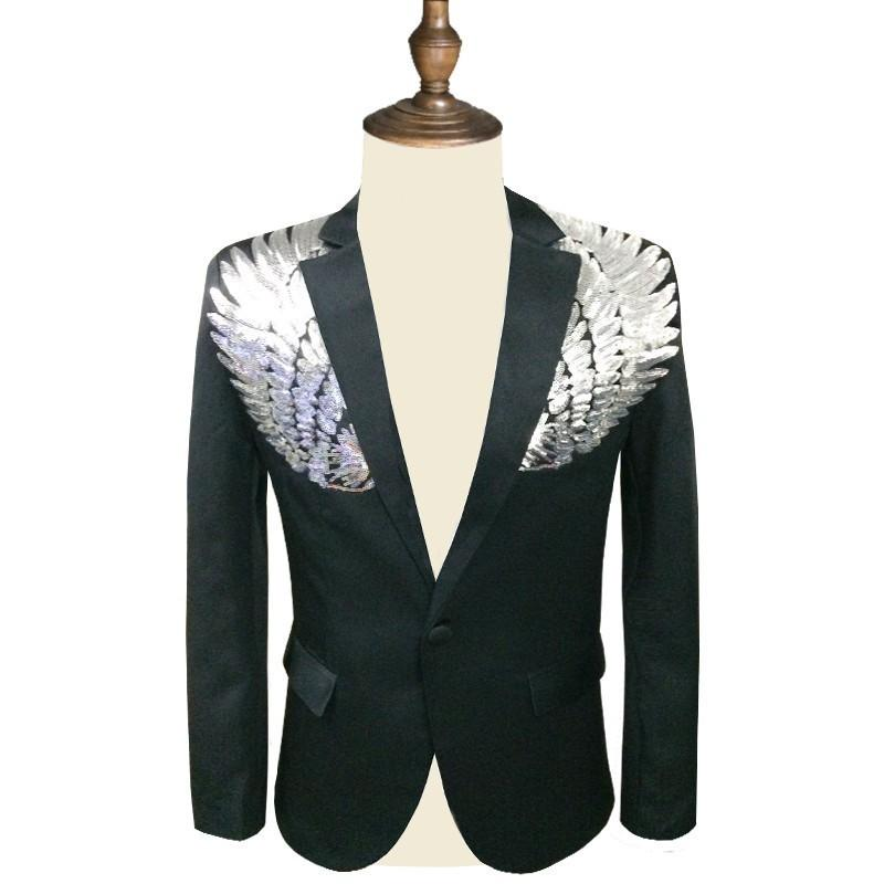 finest selection ab2af cde7a Uomo paillettes blazer paillettes paillette masculino slim fit tailleur  giacca uomo blazer paillettes homme oro argento stage DJ stagewear S18101903
