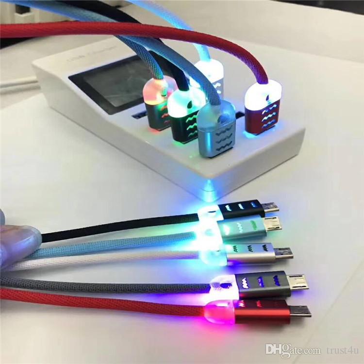 Cables de carga por cable USB 1M Carga rápida LED Iluminación Cables de sincronización por cable USB Micro de metal para Samsung Galaxy s7 s7edge Teléfono Andriod