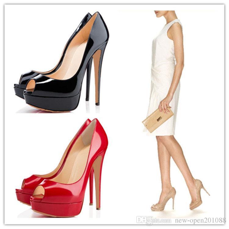 2018Fashion 14 см каблук женщины обнаженная лакированная кожа Peep-toes высокие каблуки, Desiger платформы мелкий рот Women039; S платье обувь