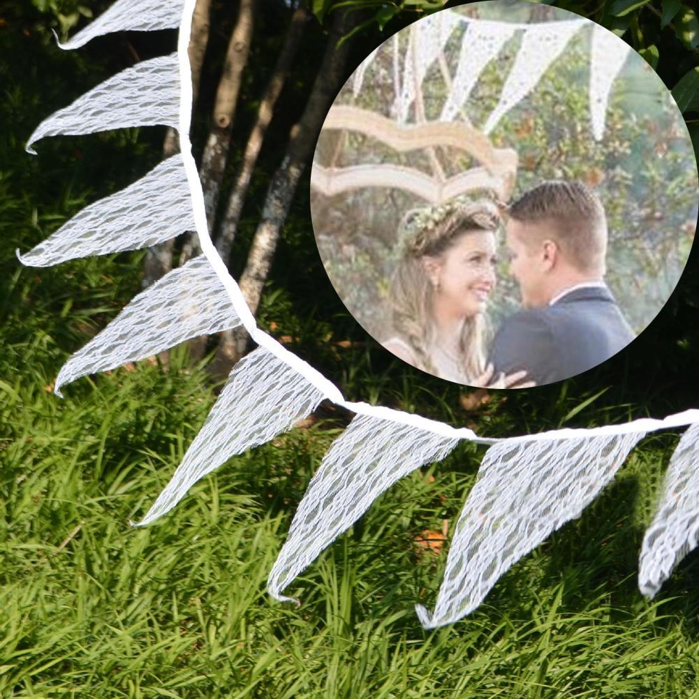 Romantische Vintage schäbig Elfenbein Spitze Banner Flagge Girlanden Hochzeit Dekorationen 12 Fahnen -3.2MWedding Bunting Decor