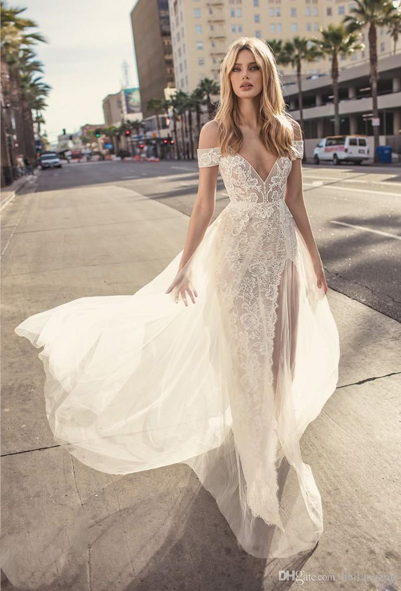 Muse By Berta 2018 Wedding Dresses Sexy Spaghetti Off Shoulder Lace Applique Bridal Gowns Summer Beach High Side Split Wedding Dress