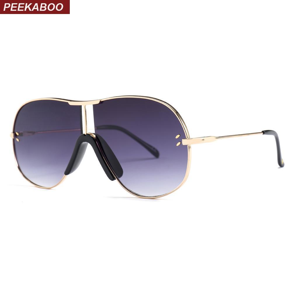 3d88a8692e97 Peekaboo Big Oversized Sunglasses for Men Brand Designers 2019 Metal ...