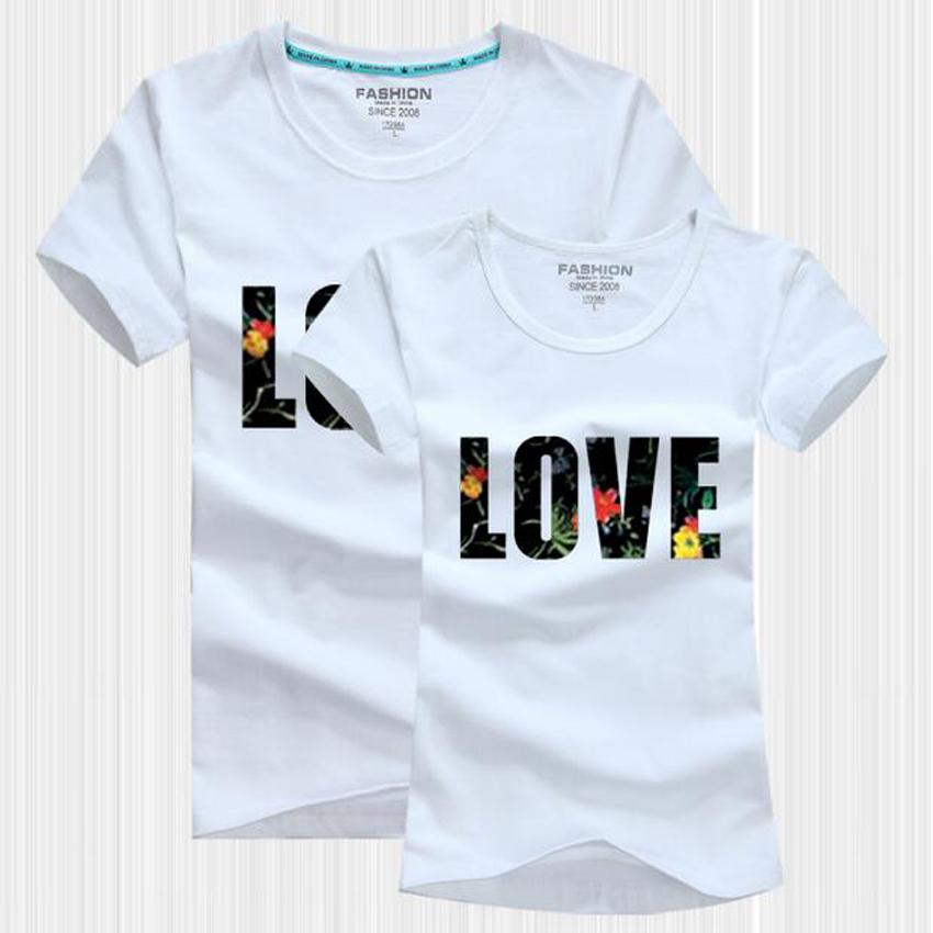 Love Letter Print T-Shirt Women Men Tops Couple Clothes 2017 Summer Casual O-Neck Lovers Tee Shirt Femme Camisetas Mujer custom