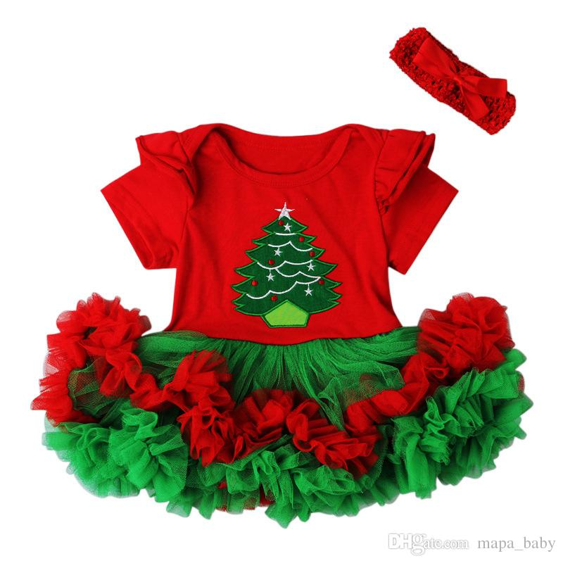 e32d8ce55 2019 Baby Christmas Romper Tutu Dress Girl Outfits Santa Gift Rompers Red  Color Lace Skirt With Hairband Christmas Tree Printed From Mapa_baby, ...