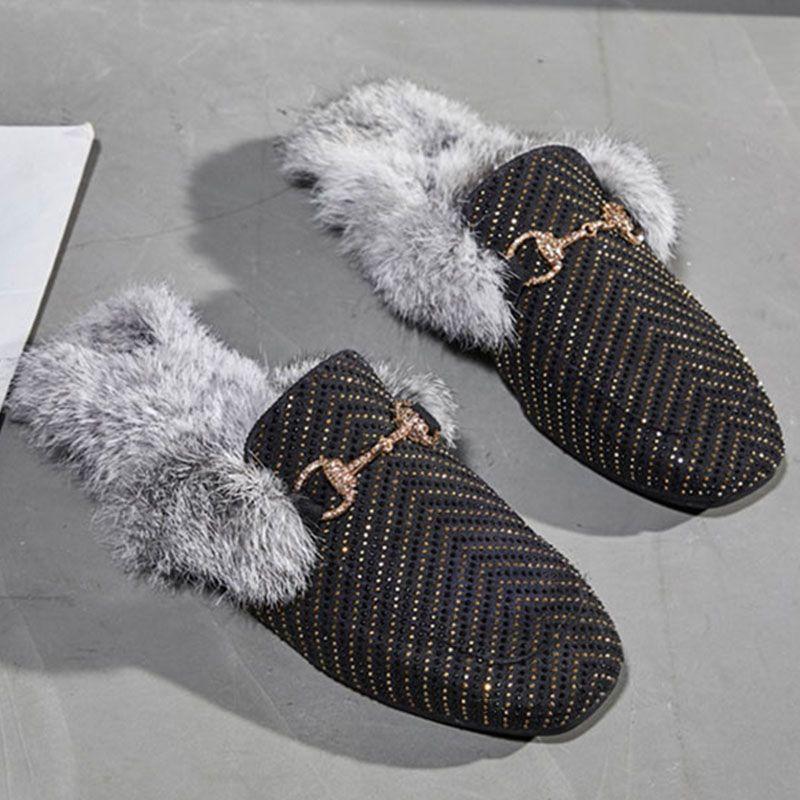 831675168 Wholesale Fur Slides Home Slippers Women Ladies Warm Mules Indoor ...