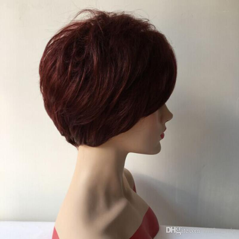 ZhiFan New Top Quality Straight Short Women Wig Synthetic Burgundy Natural Hair for Africans With Bang