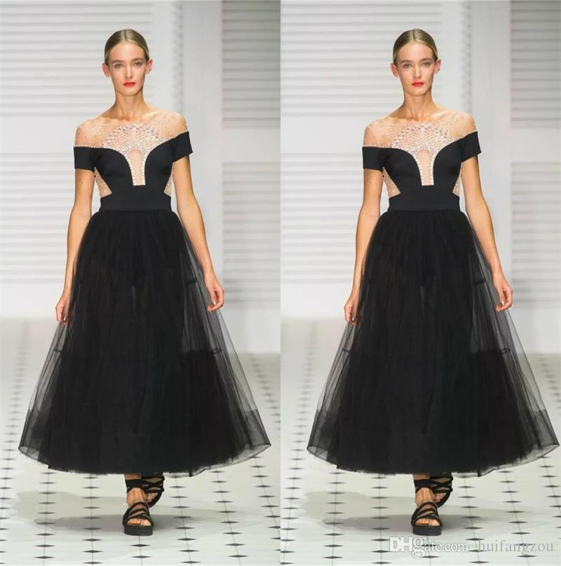 Illusion A Line Black Prom Dresses Off Shoulder Beads Evening Gowns Red  Carpet Ankle Length Sexy Formal Dress Evening Gowns Ugly Prom Dresses Black  Prom ... ed7bdb5e65f2