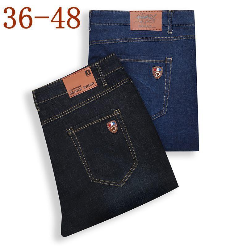 33a1e2a5b Compre Tamanho 44 46 48 2018 Novo Famoso Marca Reta Stretch Jeans Homens  Elegantes Algodão Estiramento Denim Calças De Negócios Mens Jeans De  Viviant, ...