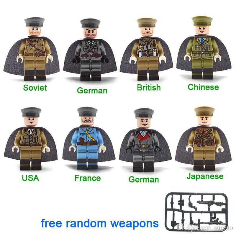 World War II WW2 British France Soviet USA German Commanders Figure Army  Soldier Military Mini Building Block Toy Figure
