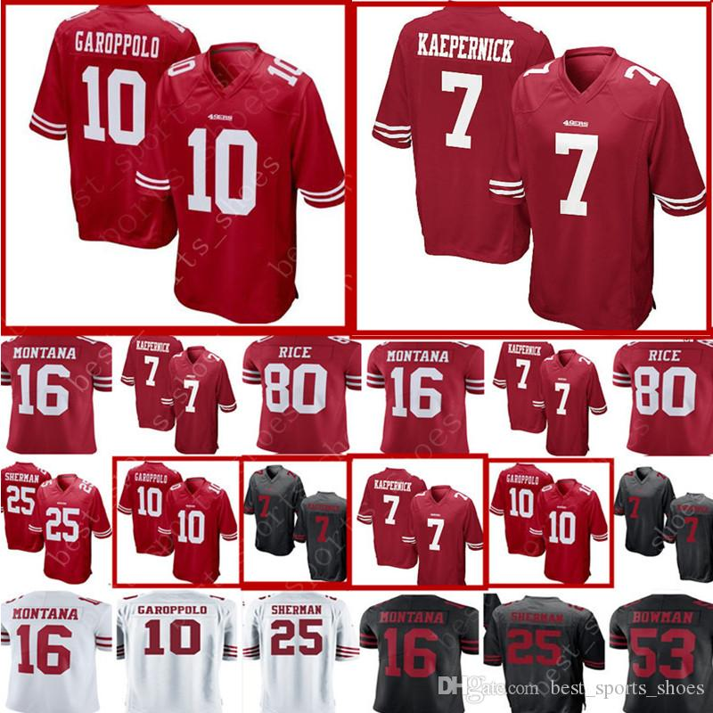 9b31b036e 2018 7 Colin Kaepernick 10 jimmy garoppolo San Francisco 49ers Jersey Mens  25 Richard Sherman 16 Joe Montana 80 Jerry Rice 53 Bowman Jerseys From ...