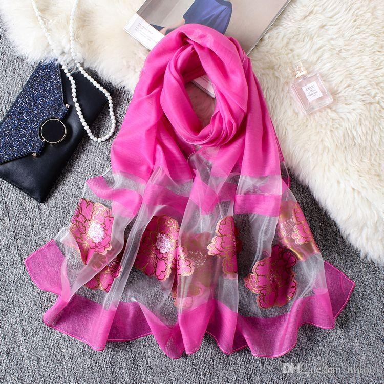 Wholesale 180x70cm 14 Colors Organza Stitching Designer Scarf Women Hijab Shawls Pashmina Head Wrap Scarf Table Blanket Beach Towel