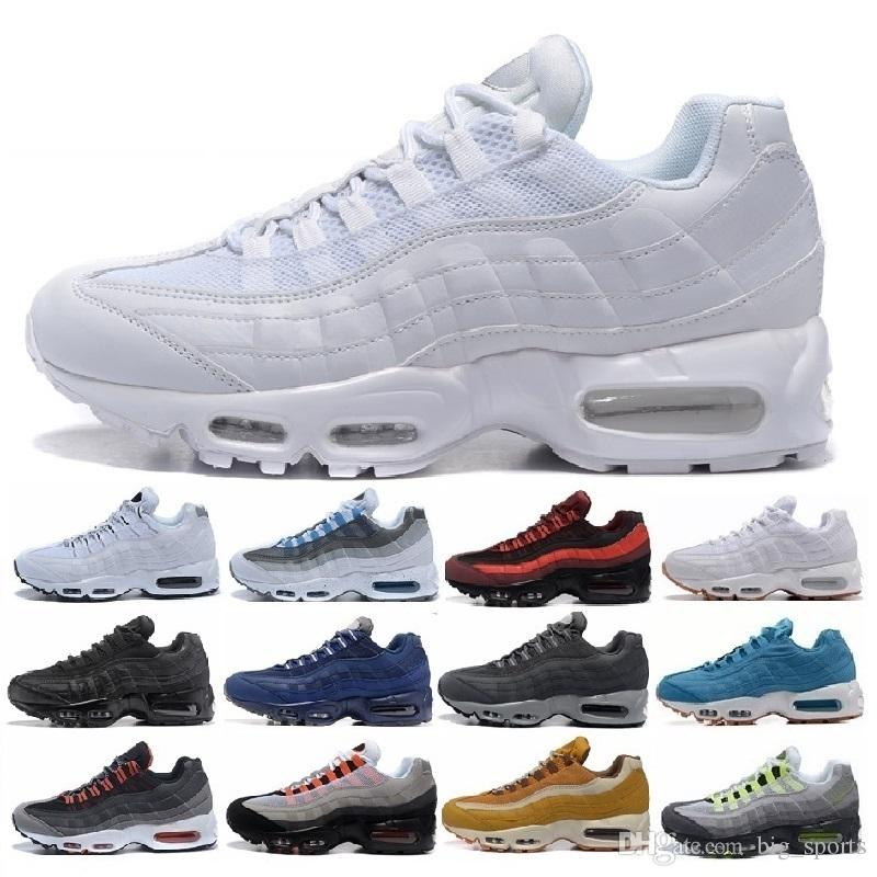 online retailer 83b83 29cea 2018 New Ultra 95 OG 20th Anniversary Men Running Shoes Triple Black White  Grey 95s Sports Sneakers Designer air Mens Trainers Chaussures