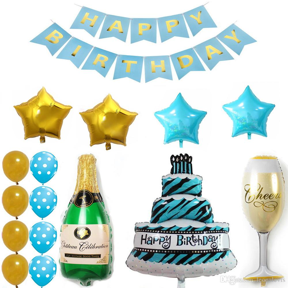 blue happy birthday banner cake champagne cup bottle foil balloon
