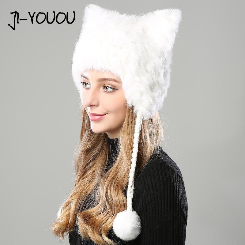 Winter Hats For Women 2017 Beanie Girls Hat Fur Pompom Knitted Crocheted  With Ear Flaps Skullies Cashmere Warm With Hat Ears Canada 2019 From  Lantana c8807e3d267