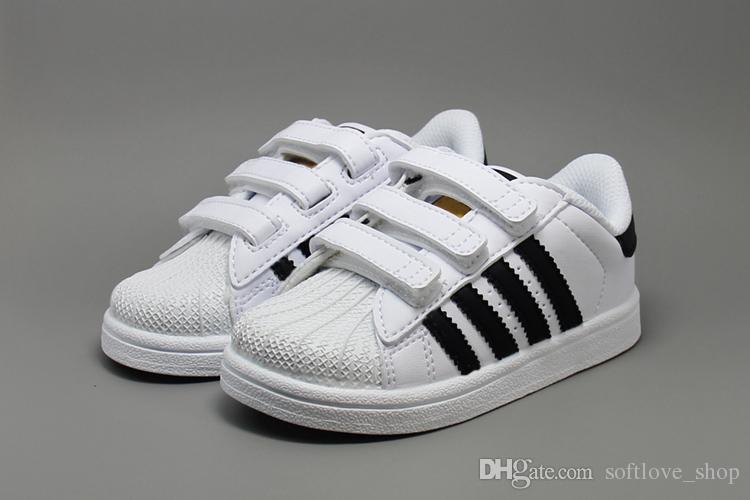 100% authentic 72ea7 bd2ee Großhandel Adidas Superstar Schuhe Original White Gold Baby Kinder  Superstars Turnschuhe Originals Super Star Mädchen Jungen Sport Kinder  Schuhe 24 35 Von ...