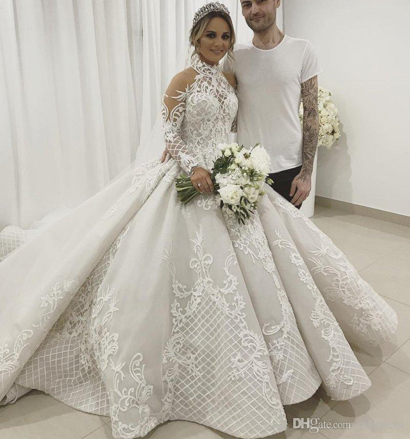 Vintage Wedding Gown Designers: Luxury 2019 Lace Ball Gown Wedding Dresses Long Sleeves