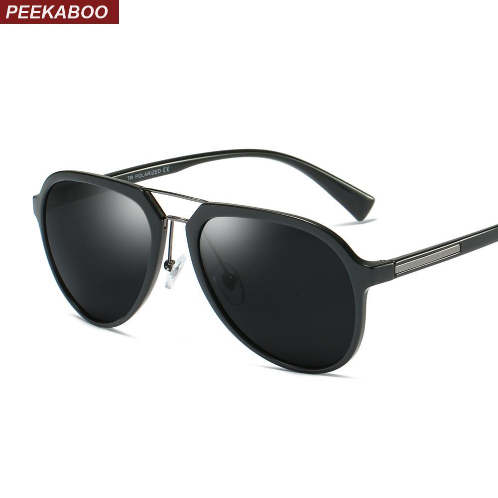 57feda79f47c3 Compre Peekaboo Tr90 Polarizada Óculos De Sol Dos Homens De Condução 2019  Marrom Fosco Preto Óculos De Sol Para Homens Polarizados Uv400 Presentes ...
