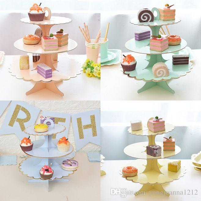Wedding Cupcake Tier Ideas: 3 Tier Thick Paper Cake Stand Cupcake Stand Bronzing