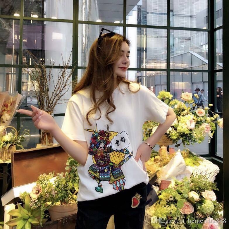 Vananya New Designer brand Styles Women Casual White T Shirt Female Short Sleeve Top Tees Japanese samurai prints t-shirt black Women