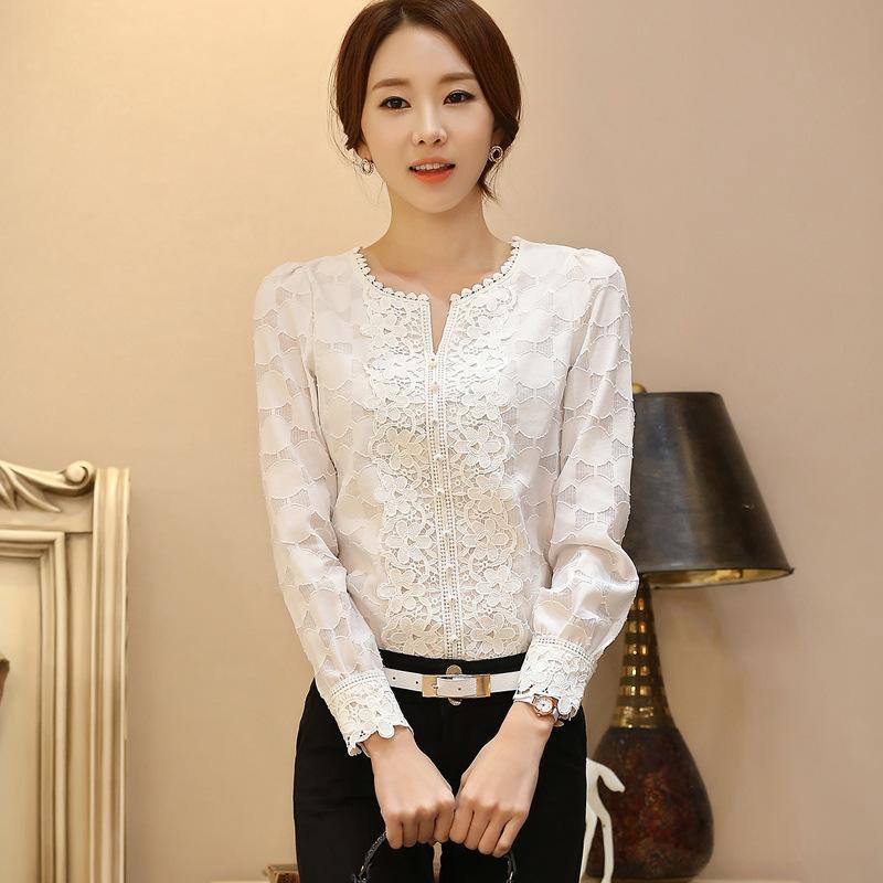 1cb0761e428 New Autumn Crochet Lace Blouse Shirt Korean Women Long Sleeves Women ...