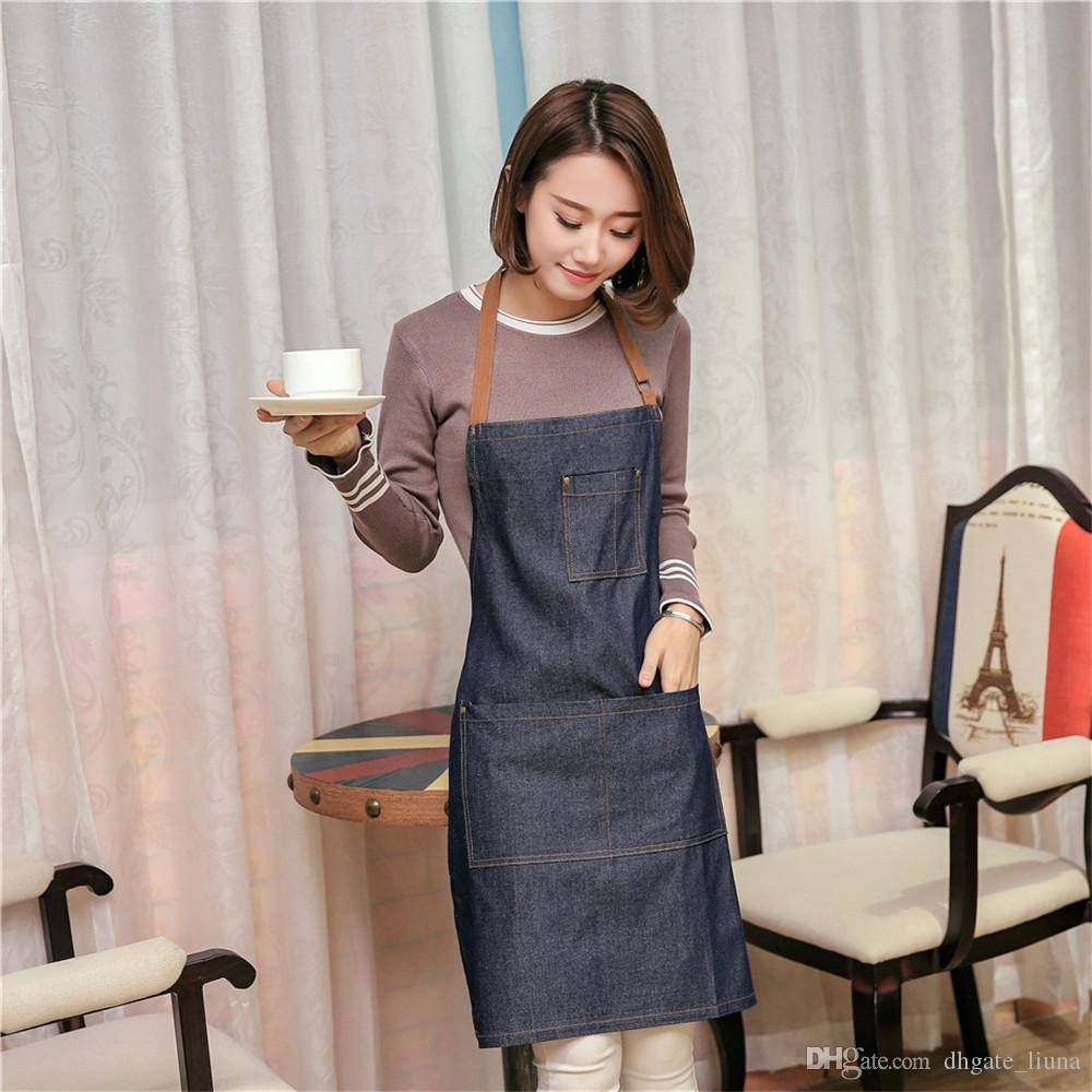 5 Piece Hot Sale Aprons Cowboy Simple Antifouling Uniform Unisex Denim Aprons for Woman Men's Kitchen Chef Cooking Pinafore