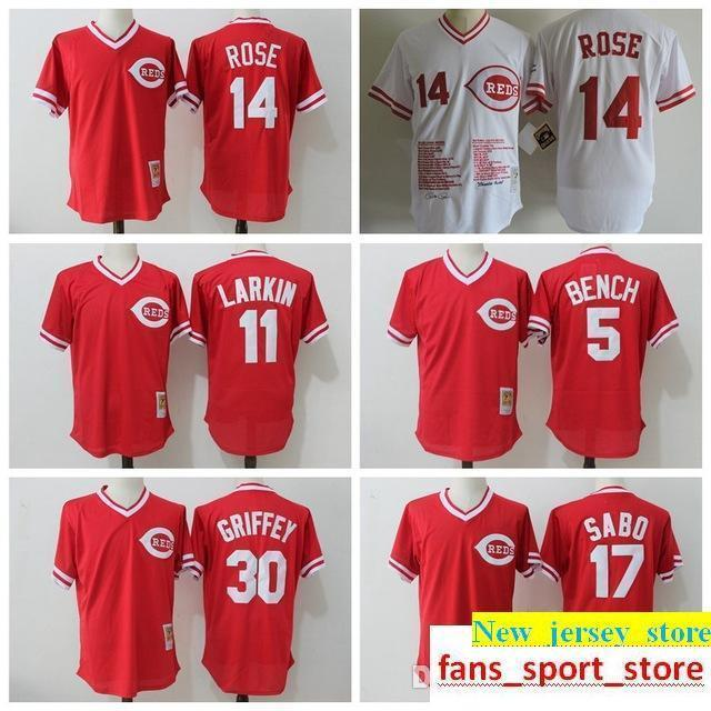 more photos da551 9079a 2019 Men s Ci Reds 30 19 Joey Votto 14 Pete Rose 5 Johnny Bench Jersey 11  Barry Larkin 17 Chris Sabo 100% stitched Baseball Jerseys