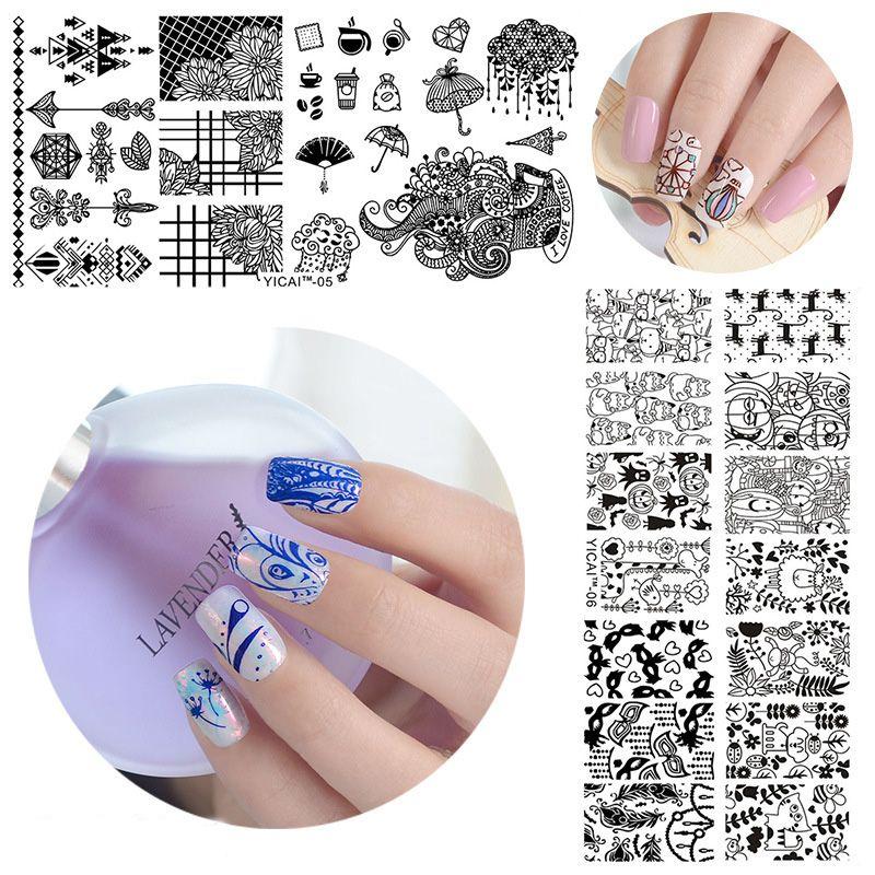 65125cm Nail Art Template Metal Geometry Series Mix 20 Design