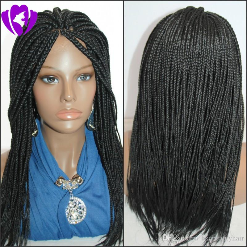 Stock long Black Braided lace Wigs with Baby Hair Braiding hair Heat Resistant Glueless Synthetic Lace Front Wigs for Black Women
