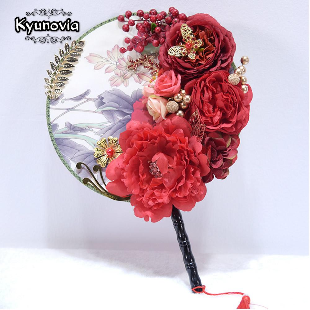 Wholesale Wand Fan Bouquet With Crystals Red Peony Rose Flower Silk