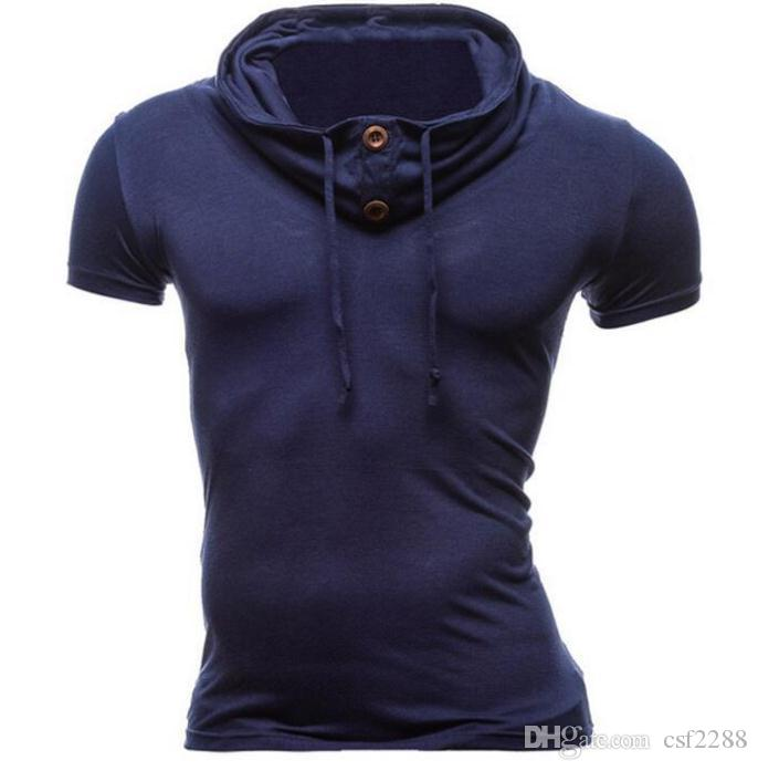 Camisa POLO de manga corta de manga corta vertical de cuello redondo de manga corta de color sólido para el verano de 2018 para hombre