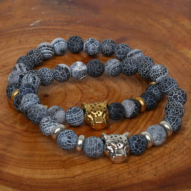 Fashion 8mm Buddha Leo Lion Head Charm Bracelet Men Natural Stone Created Agates Lava Beads Bracelets Pulseras Hombre