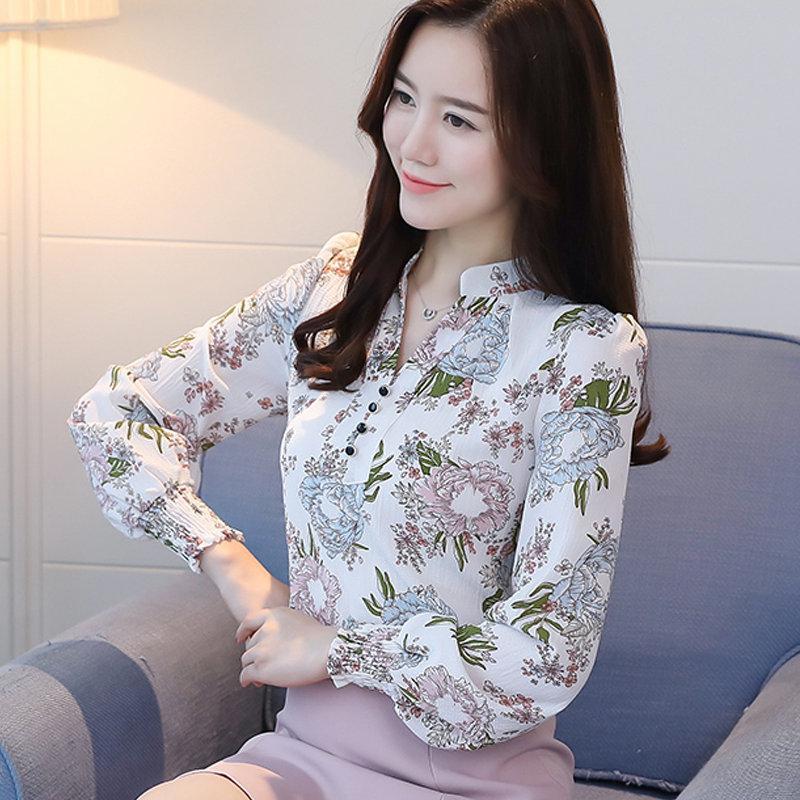 eebf71336 Caída de las mujeres camisa de la blusa Estampado floral Blusas Mujer 2019  Moda con cuello en v manga larga Femme Tops Plus tamaño gasa Chemisier ...