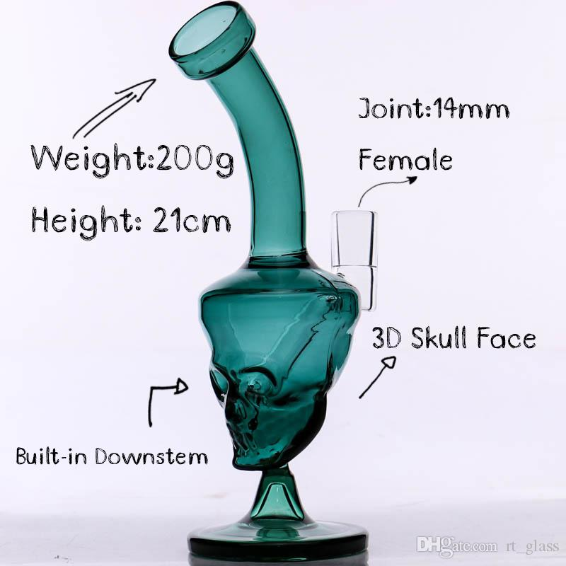 Skull Face Glass Bong Mini 8 '' Verde aceite dab Rig Joint 14 mm downstemless listo para usar 2018 New Release