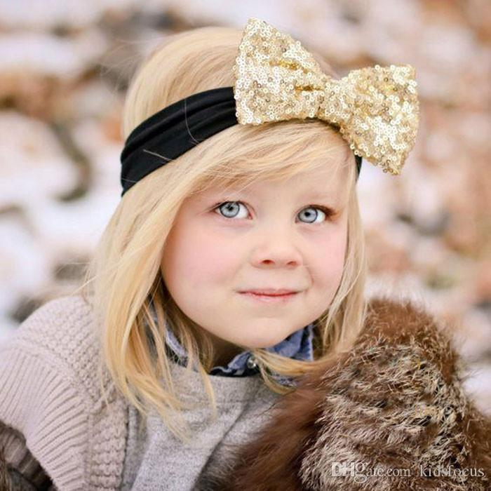 Fashion elastic children headband cute sequins bow baby cloth headband baby girls beautiful bow hairband girl hair accessories
