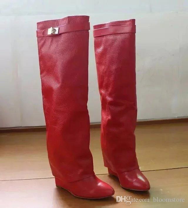 Дизайнер металла акула замок женщин колено высокие сапоги польский кожа длинные пинетки 22 цвета ремень клинья обувь дамы рыцарь слой сапоги
