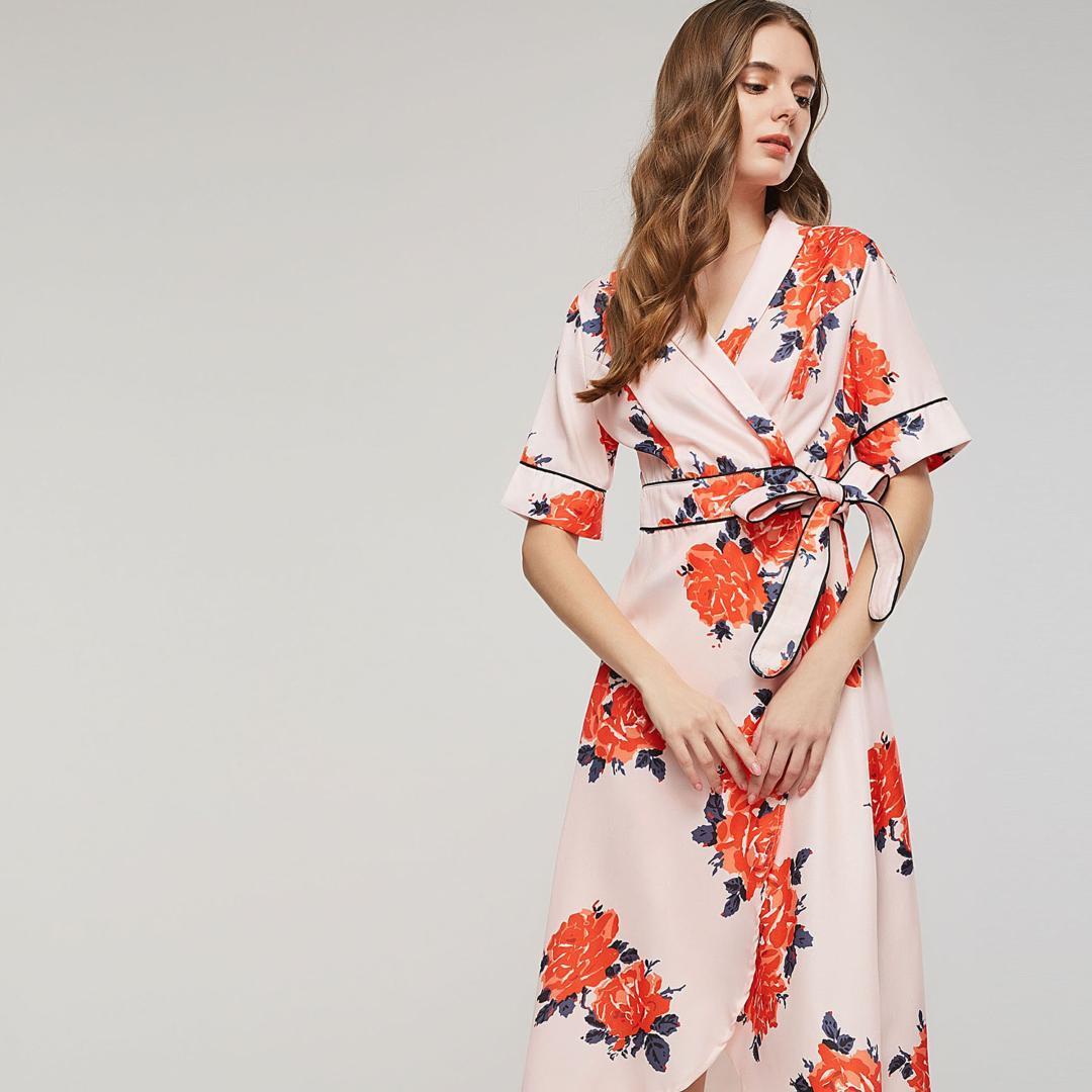 4e2813a6d4 Compre Rosa Doce Flor Imprimir Vestido Vintage Mulheres Outono Novo Lace Up  Bowknot Rua High Elegante Elegante Elegante Do Partido Chique Sexy Vestidos  De ...