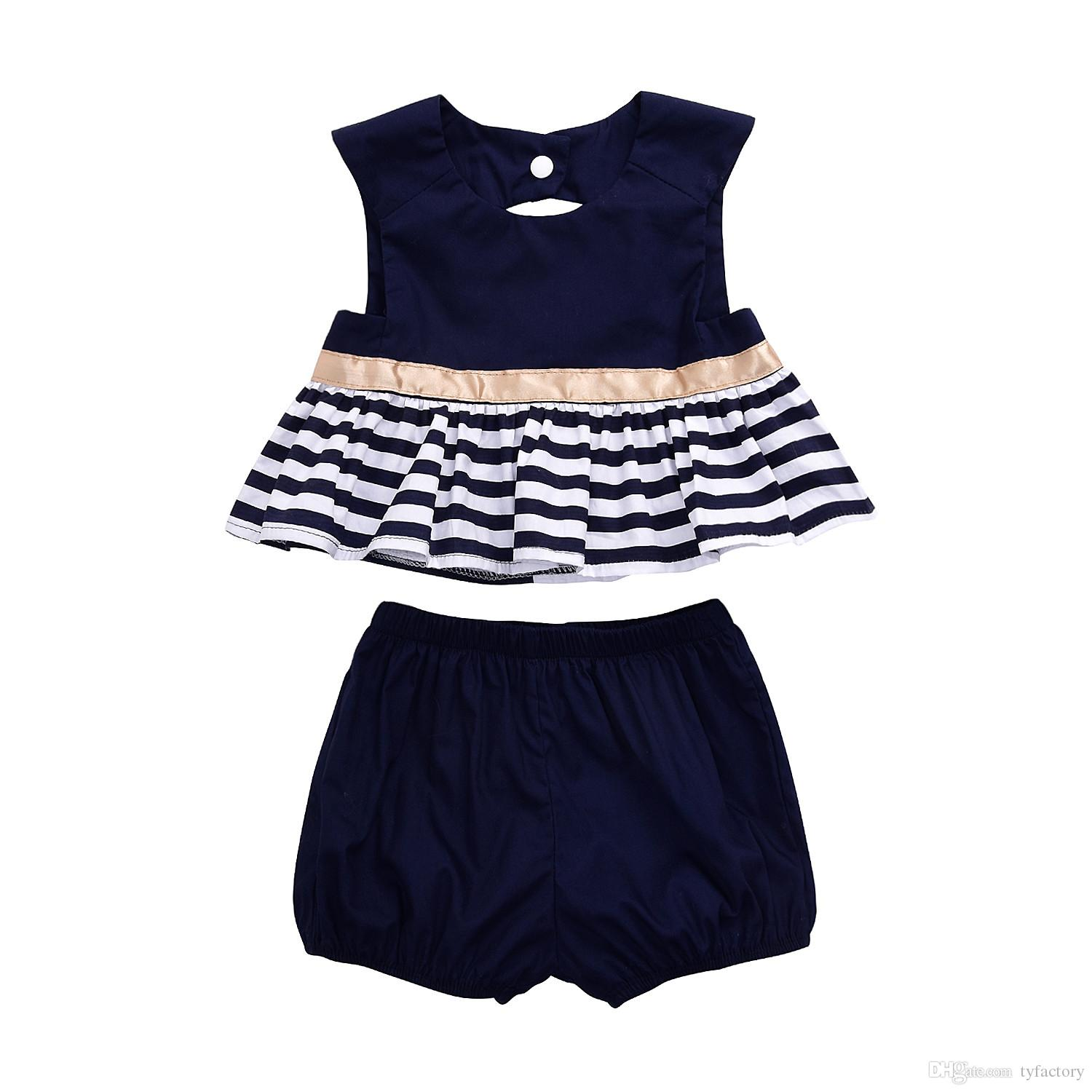 fb4ff1b25 2019 Fashion Newborn Baby Girl Clothes Navy Blue Dress Backless Top+ ...