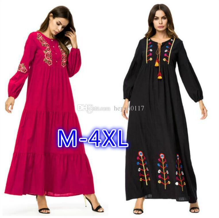 cc6eafc86162 NEW Muslim Women Fashion Large Size Abaya Dress Ankle Length Dress Long  Sleeve Islamic Clothing Modest Wear Embroidery Plus Size Maxi Dress  Shopping For A ...