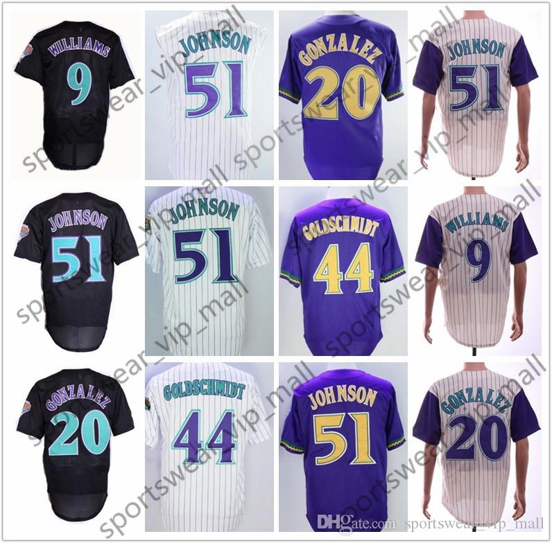 buy online d9c77 3606a Men 51 Randy Johnson Jersey 9 Matt williams 20 Luis Gonzalez 44 Paul  Goldschmidt retro mesh batting tan cream M&N Stitched Baseball Jerseys
